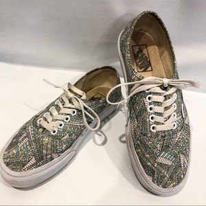 Vans Abstract Pastel Canvas Lace Up Low Shoe 8.5